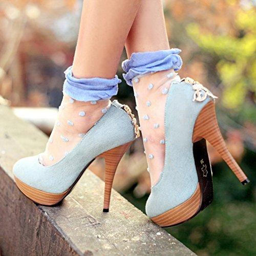 YE , chaussures compensées femme bleu clair