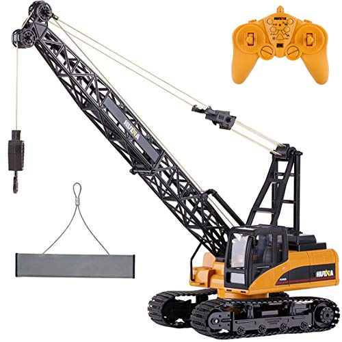 deAO RC Crane Truck Full Functional Die-Cast Front Loader 1:14 Model Remote Control 2.4GHz Construction Truck with Lights & Sounds