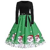 Weihnachts-Vintage-Kleid,HUYURI Damen-Langarm-Weihnachtsmann-Druckparty Ausgestelltes Kleid