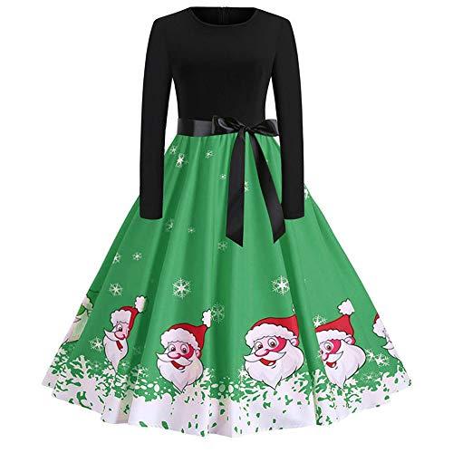 OverDose Damen Frohe Weihnachten Stil Frauen Vintage Print Langarm Weihnachten Abend Party Cosplay Elegante Slim Swing Kleid Geschenk(A-Grün,XL)