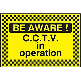 Security Warning Sign Be Aware Cctv In Operation - 450x300mm