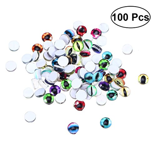 SUPVOX Mixed Color Mosaic Eye Printed Round Photo Glass Cabochons for Crafts Jewelry Making 100 PCS 6mm