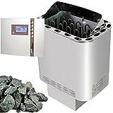 Saunaset Edelstahl Sauna Ofen Nordex 8 kW mit TOP Aussensteuerung mit Zeitvorwahl EOS ECON 2 und Olivin-Diabas SAUNASTEINE