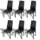 Sillas De Juegos Best Deals - VidaXL-Juego de 6 sillas de comedor línea slim, color negro