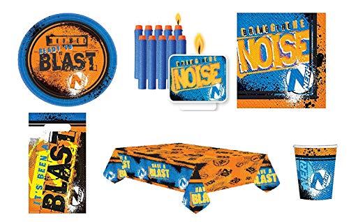Mgs33 Kit Plus Anniversaire 8 Enfants Nerf ( kit Officiel du Jeu de tir Nerf de Hasbro) Complet 52 Pieces (8 Assiettes, 8 gobelets, 16 Serviettes, 1 Nappe + 11 Bougies + 8 Sac Bonbons ) fête Nerf