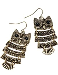 Fashion Retro Old Vintage Cute Owl Big Black Eyes Bronze Anh?nger Ohrringe baumeln