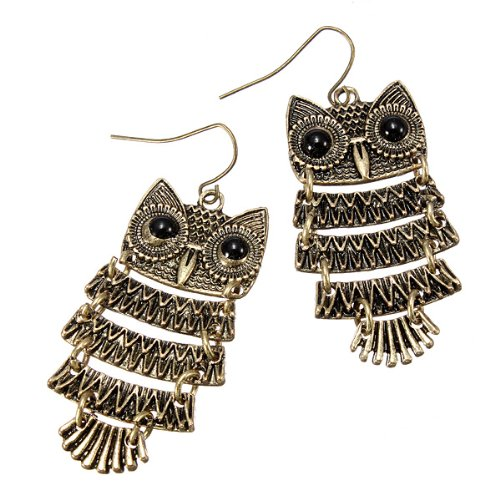 fashion-retro-old-vintage-cute-owl-big-black-eyes-bronze-anhnger-ohrringe-baumeln