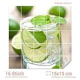 Graz Design 765296_15x15_60 Fliesenaufkleber Limette-Minze-Wasser für Kacheln | Wand-Deko für Bad/Küchen-Fliesen (Fliesenmaß: 15x15cm (BxH)//Bild: 60x60cm (BxH))
