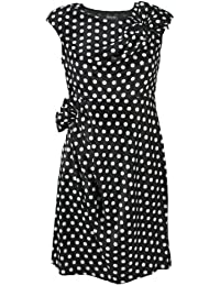 H&R London Robe LILLY DOTS DRESS noir-blanc