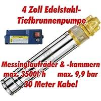 """Agora-Tec® AT- 4"""" Brunnenpumpe 1100W mit 30 m Kabel Edelstahl-Tiefbrunnenpumpe mit Messinglaufrädern und max: 9,9 bar, max: 3000 l/h"""