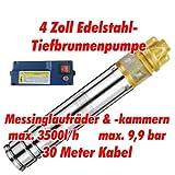 Agora-Tec AT- 4 Brunnenpumpe 1100W mit 30 m Kabel Edelstahl-Tiefbrunnenpumpe mit Messinglaufrädern und max: 9,9 bar, max: 3000 l/h
