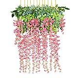 YQing Kunstblumen, künstliche Glyzinien, Heimdekoration, jeder Strang ist 110 cm lang, aus Seide, für Hochzeiten, zu Hause, Garten, Party, 12 Stück (Rosa)