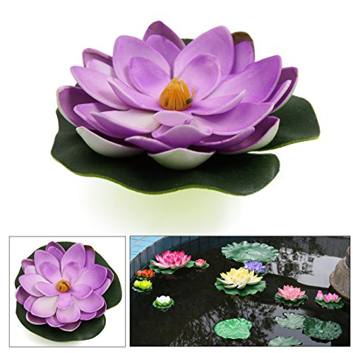 Sourcingmap luce di viola loto acquario ornamento fiore galleggiante