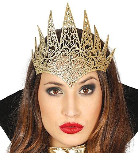 Das Böse Kind Kostüm (Damen Gold Böse Königin Tiara Krone Halloween Fee Märchen Prinzessin)