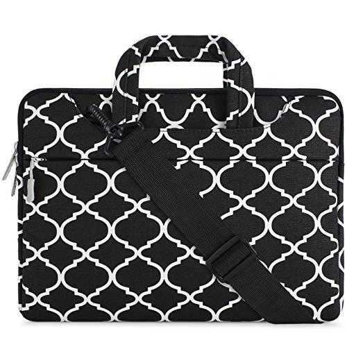 MOSISO Notebooktasche Kompatibel 15-15,6 Zoll MacBook Pro, Notebook Computer Canvas Geometrisches Muster Laptop Schultertasche Sleeve Hülle mit Griff und Schulterriemen, Schwarz Quatrefoil