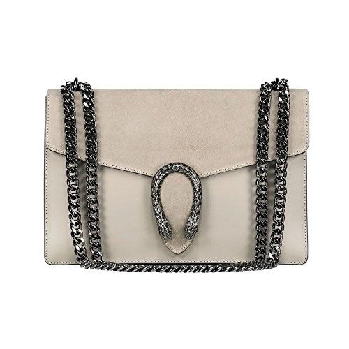 #MYITALIANBAG RONDA Umhängetasche Handtasche mit Kette und Schließen von Zubehör metallischen dunklem Nickel, Glatteleder und Wildleder, Hergestellt in Italien (beige grau) (Gucci-tasche)