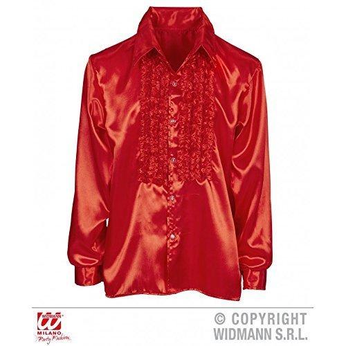 Lively Moments Rüschenhemd in rot / Diskohemd / Herrenhemd / Satinhemd / 70er Jahre Kostüm Gr. M/L