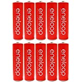 "10 Pack Panasonic Eneloop AA 4th Generation 2000mAh, Min.1900mAh NiMH Pre-Charged Rechargeable Batteries + Free Battery Holder ""Red"""