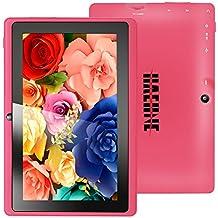 Haehne MiniPad 7 Pulgadas de Google Tablet PC, TN HD 1024*600P Pantalla Capacitiva, Android 4.4 KitKat, Quad Core de Allwinner A33 1GB de RAM 8GB 1.6GHz ROM, Cámaras Duales 0.3MP 2.0MP, WiFi, Bluetooth - Rosa