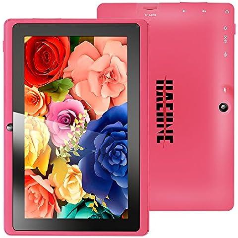 Haehne MiniPad 7 Pulgadas de Google Tablet PC, TN HD 1024*600P Pantalla Capacitiva, Android 4.4 KitKat, Quad Core de Allwinner A33 1GB de RAM 8GB 1.6GHz ROM, Cámaras Duales 0.3MP 2.0MP, WiFi, Bluetooth -