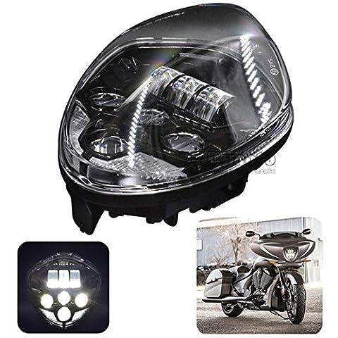BJ Global Motorcycle LED Headlight Waterproof High Low Beam Motorbike Head Lamp Light For Victory 2007-2016 Cruisers Bullet Style ( DOT,