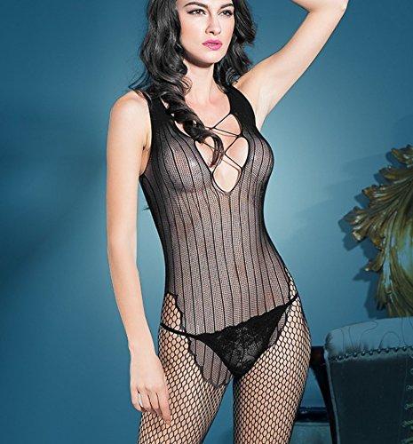 DFL Kostüm Sexy Versuchung transparent ausgesetzt Corsage-Windelhosen Brüste geöffnet Schrittlänge, (Kostüm Femme Jupe Pour)