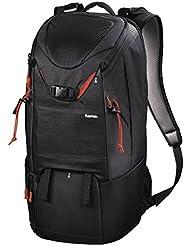 Hama Kamerarucksack für 2 DSLR Kameras und Ausrüstung (Fotorucksack, 21 L, Schnellzugriff, Tabletfach, Regenschutz, Stativhalterung, handgepäcktauglich, Kameratasche) schwarz