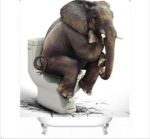 Y&LNuevas cortinas de ducha 3D Impresión de los elefantes traviesos impermeabilizan el...