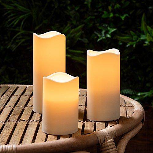 3er Set LED Kerzen für Außen mit Zeitschaltuhr