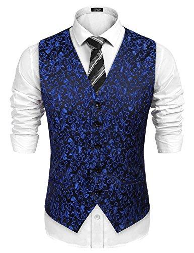 Burlady Herren Western Weste Herren Anzug Weste V-Ausschnitt Ärmellose Westen Slim Fit Anzug Business Hochzeit (XL, L-Blau)