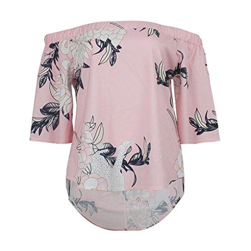 Manadlian T-Shirt Femmes, 2017 Femmes Blouson Imprimé à Imprimé Floral Épaule T-Shirt Décontracté Vêtements Automne Rose