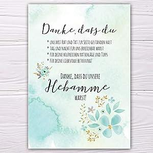 """A6 Postkarte""""Danke, dass du unsere Hebamme warst!"""" in grün wasserfarben Glanzoptik Papierstärke 235g/m2 Dankesgeschenk für Hebamme"""
