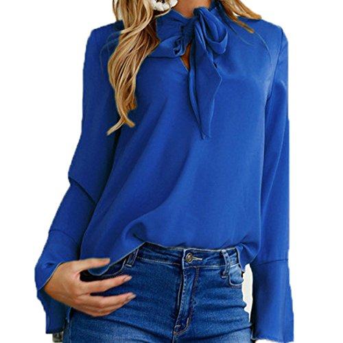 TWIFER Damen aus Schulter Unregelmäßige lange Ärmel trägerlosen V-Ausschnitt Tops T-Shirt (XL, Blau) (Kariertes Gewand Blau)