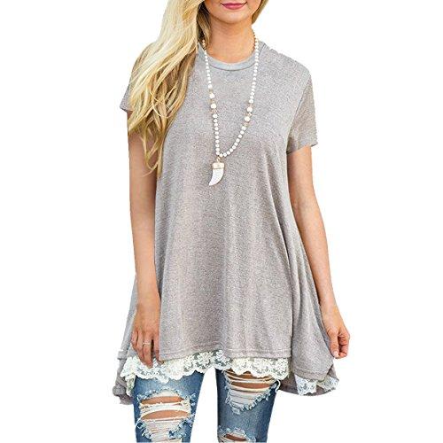 Casual vestito a-line con maniche corte donna maglia lunga al ginocchio t shirt top camicia estate primavera autunno