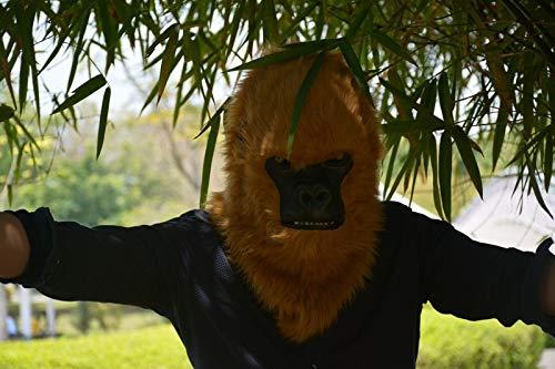 LUANAYUN-TOYS Kopf Tiermaske Heißer Handgemachte Halloween Party Brown Gorilla Tiermaske mit Mundsteller Tier Kopfmaske Tiermaske ( Color : Brown , Size : 25*25 )