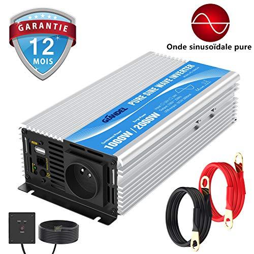 GIANDEL Onde Pur Sinus onduleur 1000w Convertisseur DC 12v à AC 220v 230v avec télécommande avec AC Prises de Courant & 2.4A Port USB pour RV Voiture de Camion