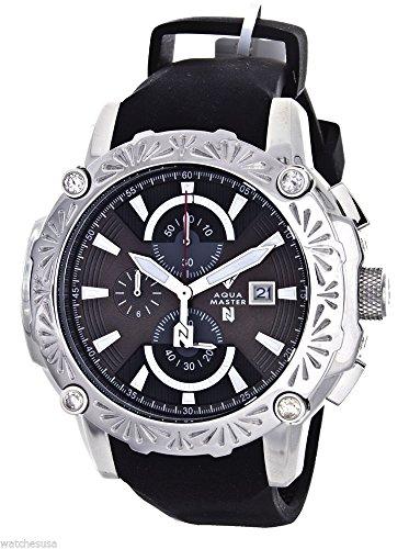Aqua Master el Russo Nicky Jam Chrono Negro Dial Diamante de los hombres reloj # nj105