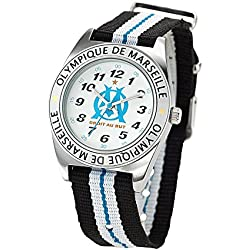Olympique de Marseille Boys 'Watch - Analogue Quartz - White Dial - Bracelet - om8010 Nylon Multicoloured