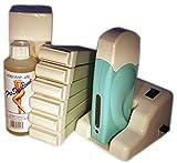 EPILWAX S.A.S - Kit D'Épilation Modulaire Aloé Véra Complet Cire Roll-On Jetable - avec Roulette Grand Modèle et huile post épilation - pour Jambes, Aisselles, et Corps