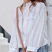LGK&FA Striped Shirts Seven Women'S Sleeves And Blouse Shirts M White