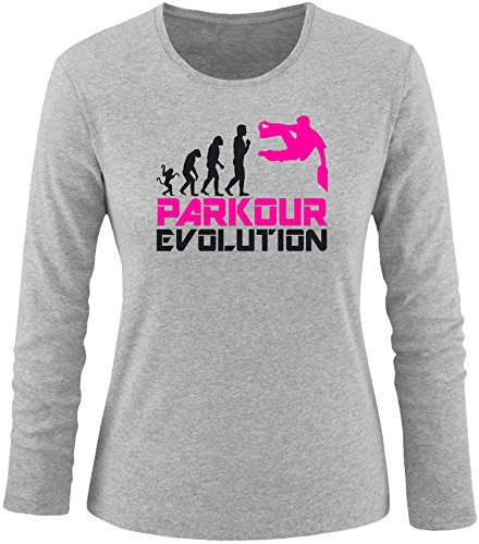 EZYshirt® Parkour Evolution Damen Longsleeve Grau/Schwarz/Pink
