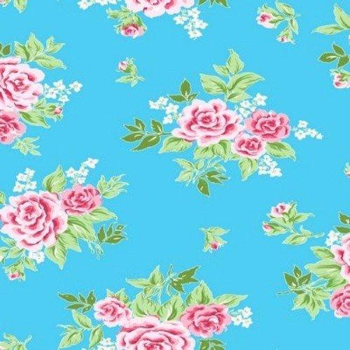 Klebefolie - Möbelfolie - Rosy blau - Rosen - 45 x 200 cm - Dekorfolie