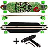 FunTomia® Longboard Skateboard Drop Through Cruiser Komplettboard mit Mach1® ABEC-11 High Speed Kugellager T-Tool (Modell Freerider - Farbe Grün Hawaii2 + T-Tool)