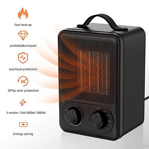 Calefactor Eléctrico Portátil Calentador 1800W / 900W Calefactor de Aire Caliente Termoventiladores...