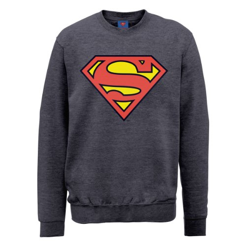 DC Comic Herren Sweatshirt Dc0000666 DC Comics Official Superman Shield Stahlgrau