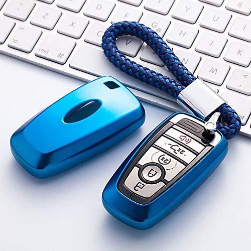 XUNHANG Ford Keychain Cover Vollschutz Keychain Keychain und Keyless Remote Control Kompatibel Smart Escort Edge Mondeo Ecosport Key Series (Farbe : Blau, Design : 3) (Escort Smart)