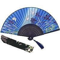 OMyTea - Abanicos de seda plegables con marco de bambú – con una funda de tela de protección para regalar – 100% hechos a mano estilo retro, chino oriental/japonés, mariposas y luz de la mañana – para mujeres y niñas