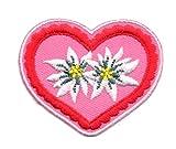 Aufnäher Bügelbild Aufbügler Iron on Patches Applikation Wiesn Herz mit Edelweiss 5 x 4,5cm Farbe: Rot-Pink Vor150-3