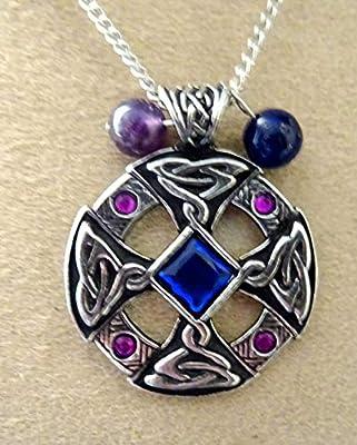 pendentif croix celtique druidique amethyste et lapis lazuli