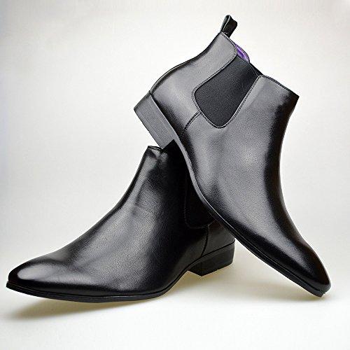 Hommes Cuir Noir élégant formel Décontracté Bottines Chelsea TAILLE UK 6 7 8 9 10 11 Noir
